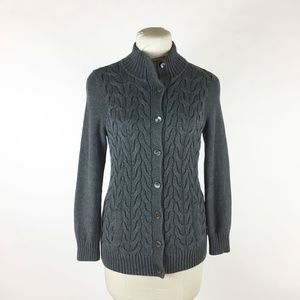 LANDS END Gray Cardigan Sweater Sz S Cable Knit